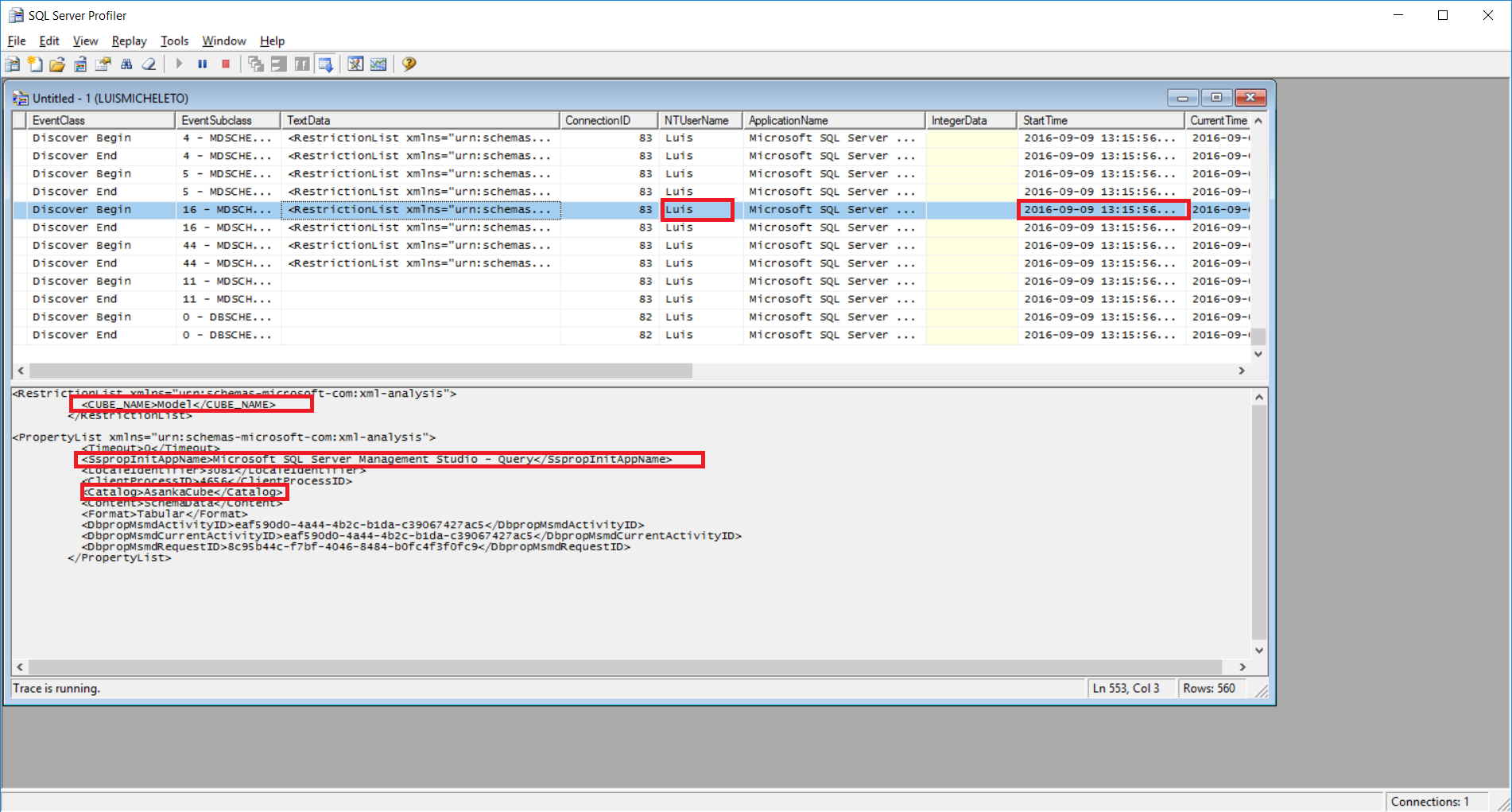 sql profiler for analysis services